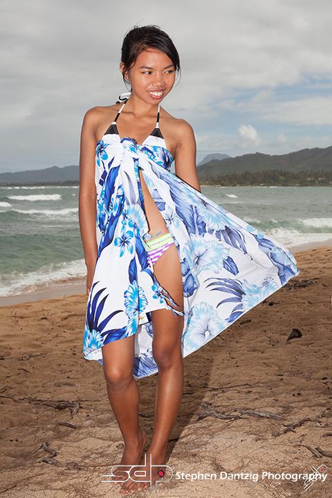 Joan standing on sand sarong out 10 72