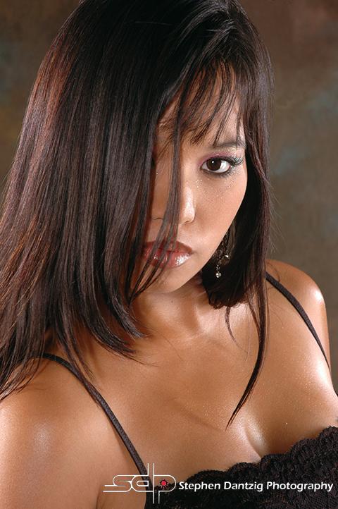 Teresa black red lingerie close right eye covered