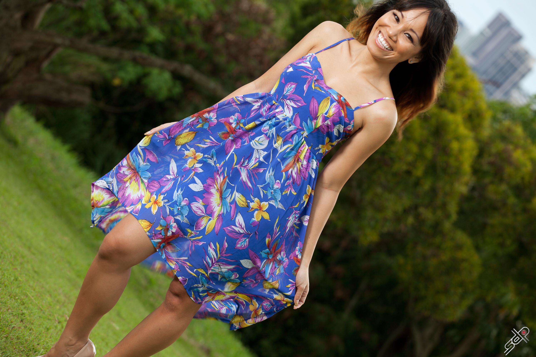 Blue dress tilt smile 10